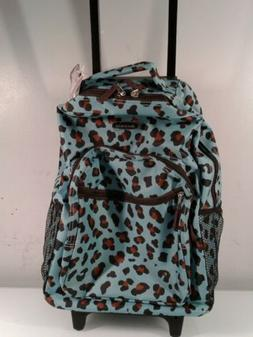 """17"""" Rolling Backpack Polyester - Blue Leopard New"""
