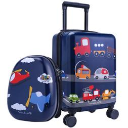 "16"" Carry On Spinner Luggage Backpack Set Kids Suitcase Scho"