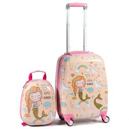 Gymax 2 Pcs Kids Carry-On Luggage Set 12'' Backpack And 18''