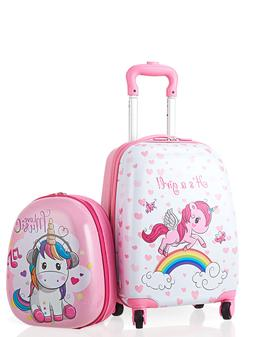 2PC Kids Carry-on Luggage Set 12'' Backpack & 16'' Rolling S