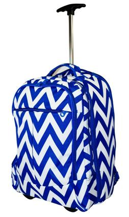 Chevron Rolling Laptop Backpack for Girls School Luggage Car