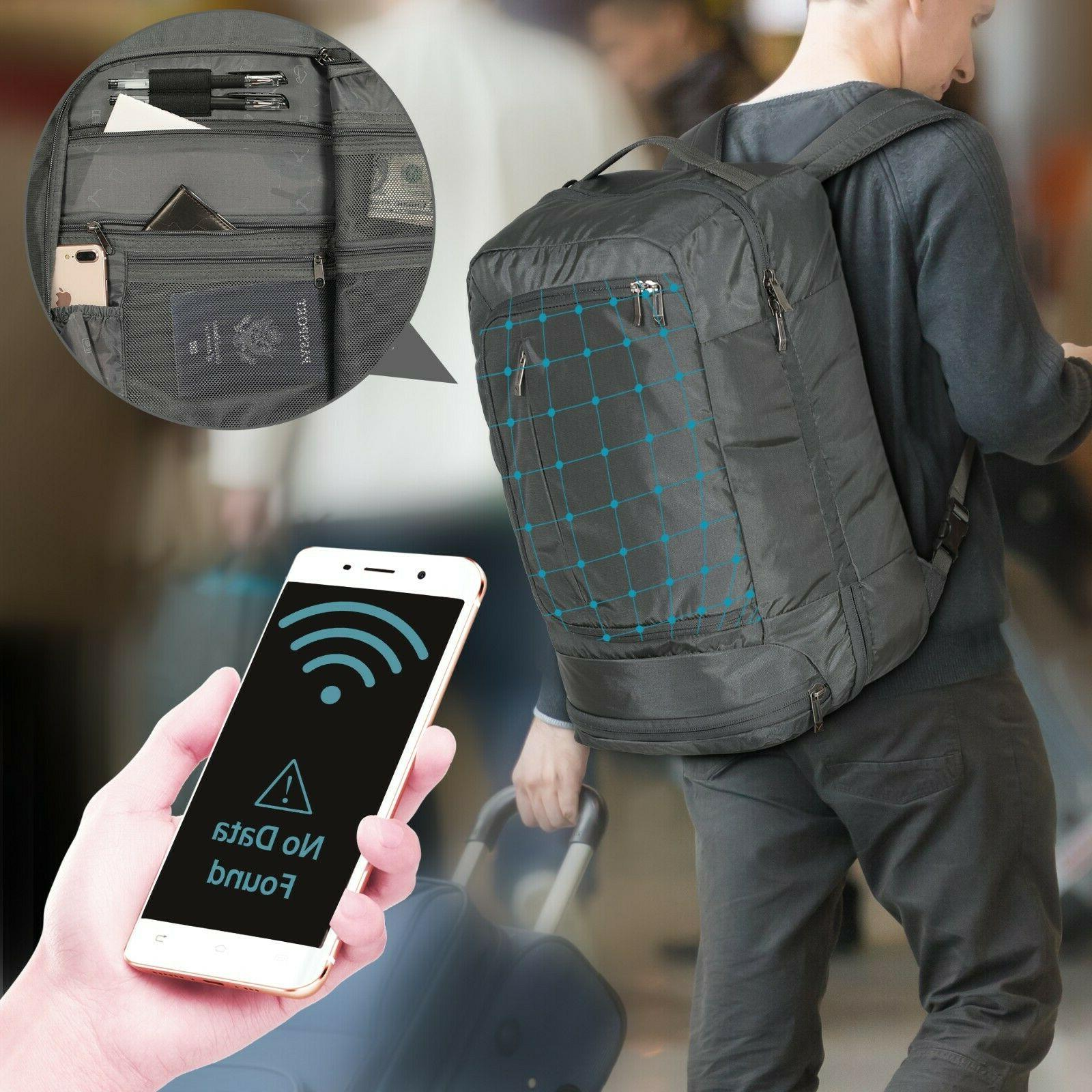 42l carry on travel backpck with rfid