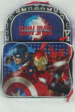 """Marvel 16"""" Captain America Iron Man Backpack School Carry On"""