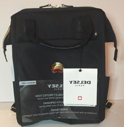 Delsey Montrouge Black Backpack With Smart band Gold Tone Ac