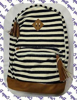 Navy Blue & Cream Striped Extra Large Backpack Woven Fabric
