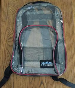 Red Clear Backpack Large Heavy Duty School Kids Transparent